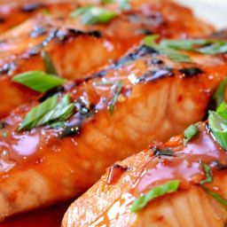 Salmon with chili glaze