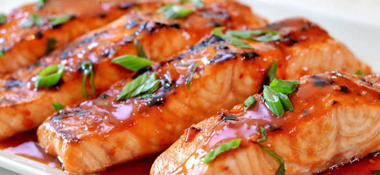 Salmon with chili glaze